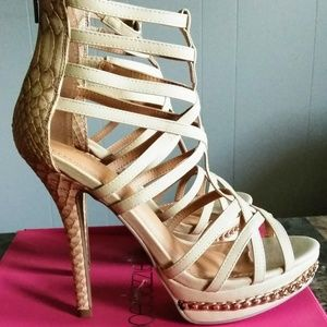 Shoe Dazzle Women size 8.5 Taupe High Heel